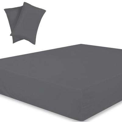 Wrinkle Resistant Extra Deep Pockets 3-Piece Dark Grey 300TC Organic Cotton Queen Fitted Sheet Set