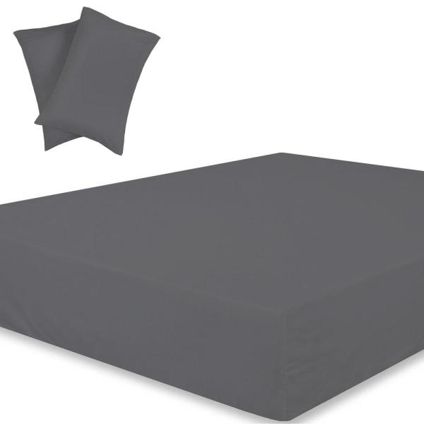 Dark Grey Solid 1 Fitted Sheet 2 Pillowcase Extra Deep Pocket Egyptian Cotton