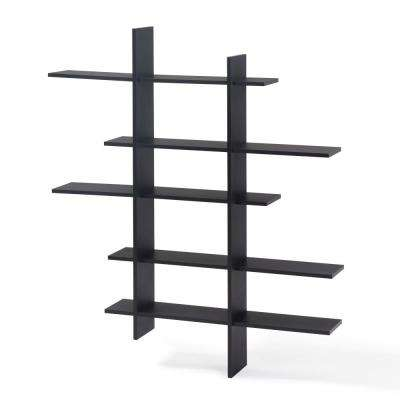 45 in. x 51 in. Black Laminate Five Level Black Asymmetric Floating Wall Shelf