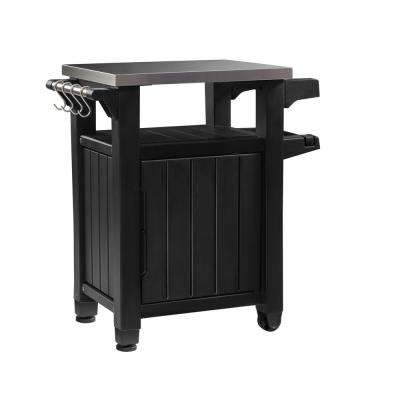 Unity 40 Gal. Grill Serving Prep Station Cart with Patio Storage in Graphite
