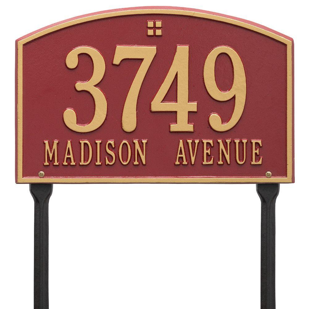 Cape Charles Rectangular Red/Gold Standard Lawn 2-Line Address Plaque