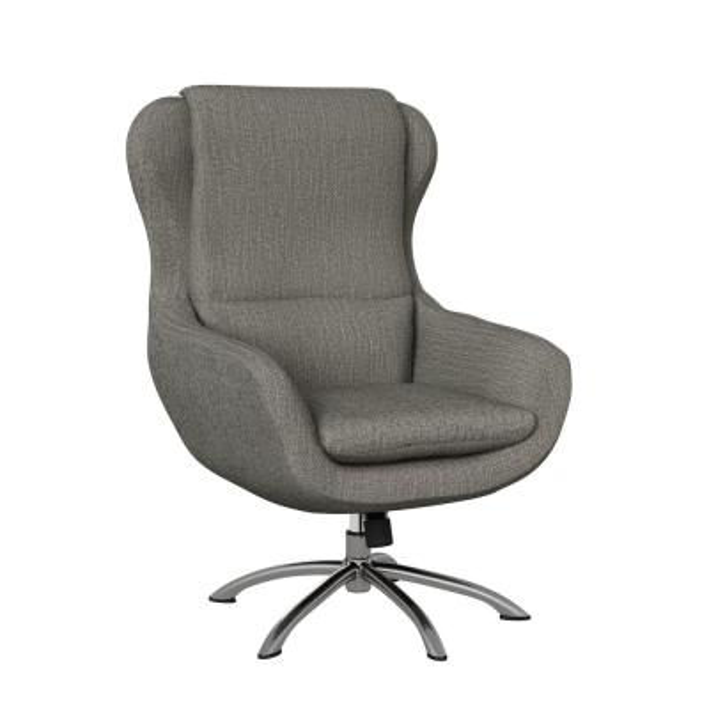 Selena Modern Swivel Rocking Chair in Smoke Gray Herringbone