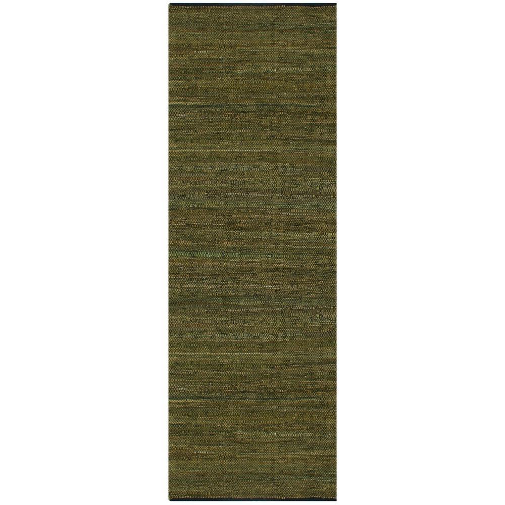 Green Leather 3 ft. x 12 ft. Runner Rug