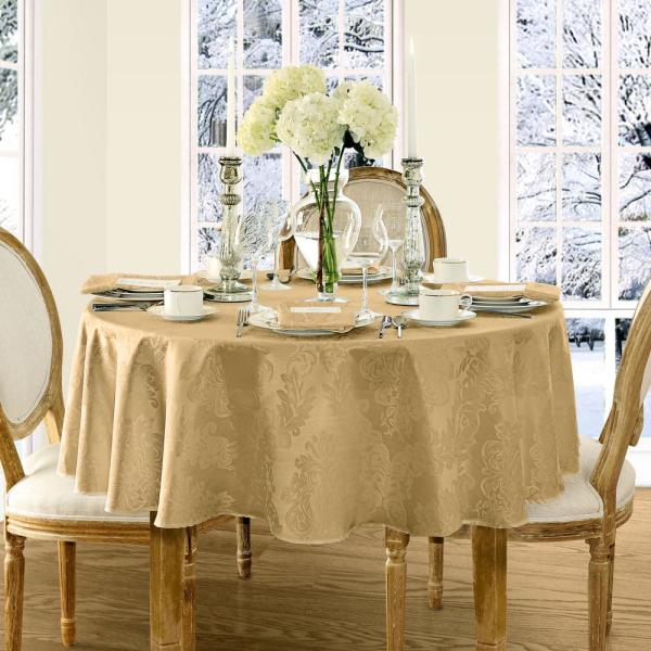 70 in. Round Gold Elrene Barcelona Damask Fabric Tablecloth