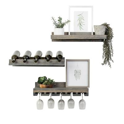 Rustic Luxe 5-Bottle Gray Wood Wall Mounted Wine Rack