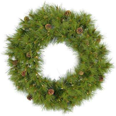 36 in. Eastern Pine Artificial Holiday Wreath with Clear Battery-Operated LED String Lights