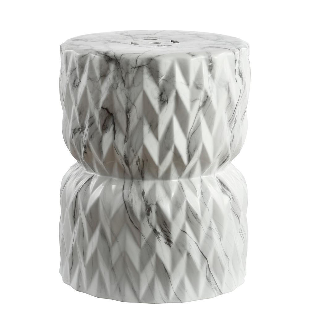 Chevron Drum 17.5 in. White Marble Finish Ceramic Garden Stool