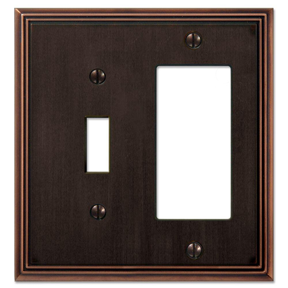 Creative Accents Metro Line 1 Toggle, 1 Rocker GFI Decorative Wall Plate - Antique Bronze-DISCONTINUED