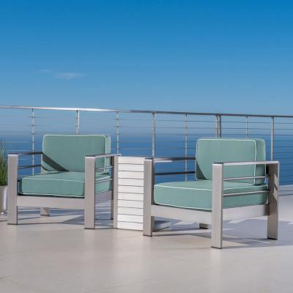 Cape Coral Silver 3-Piece Aluminum Patio Conversation Set with Sunbrella Teal Cushions
