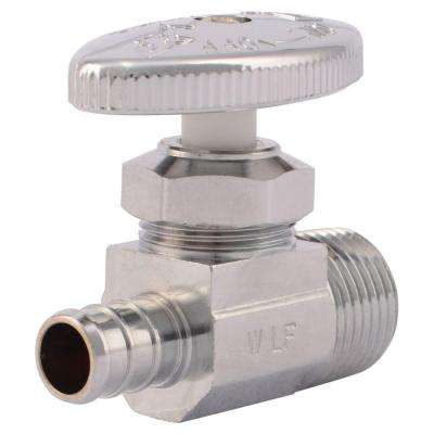 1/2 in. Chrome-Plated Brass PEX Barb x 1/2 in. Male Straight Stop Multi-Turn Valve