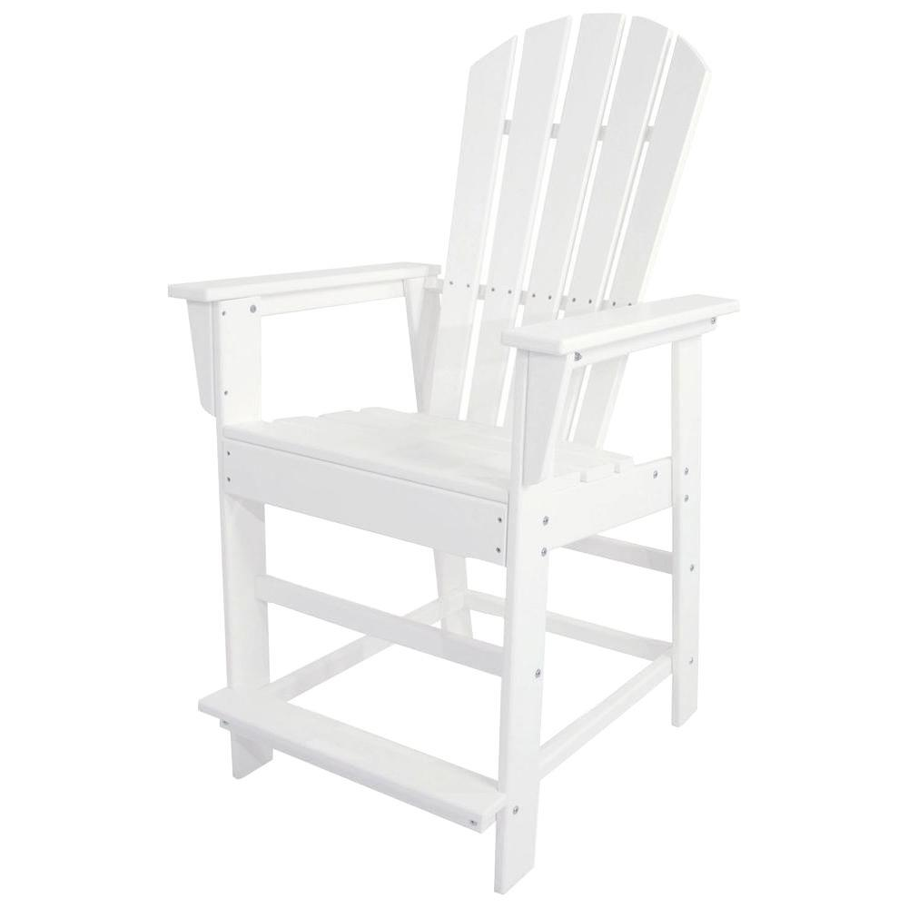 South Beach White Plastic Outdoor Patio Counter Chair