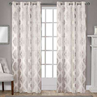 Augustus 54 in. W x 108 in. L Cotton Grommet Top Curtain Panel in Off-White (2 Panels)