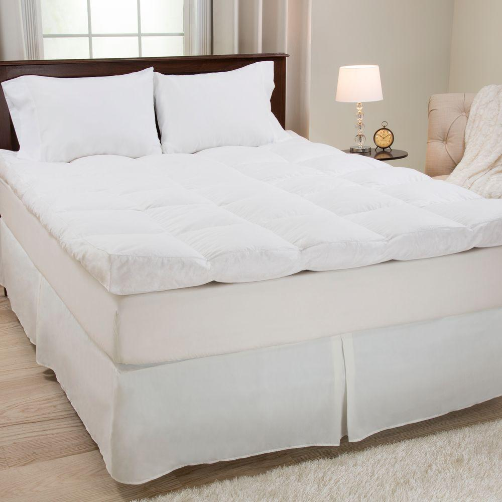 king size bed mattress topper Lavish Home Full Size 4 in. H Down and Duck Feather Mattress  king size bed mattress topper