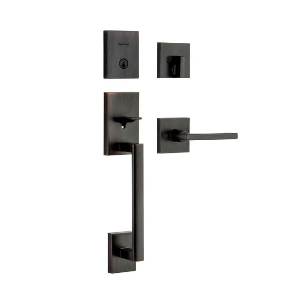 San Clemente Low Profile Venetian Bronze Single Cylinder Entry Door Handleset w/ Halifax Door Lever ft SmartKey Security