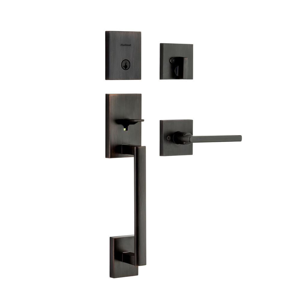 San Clemente Low Profile Venetian Bronze Single Cylinder Entry Door Handleset w/ Halifax Door Lever ft SmartKey Security