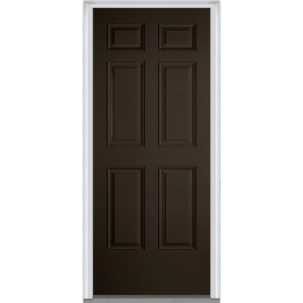 mmi door 32 in x 80 in left hand inswing 6 panel classic painted fiberglass smooth prehung. Black Bedroom Furniture Sets. Home Design Ideas