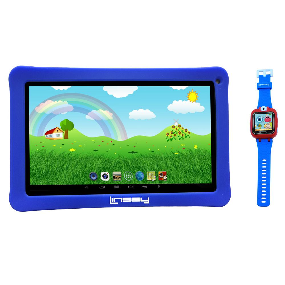 LINSAY 10 in. 2GB RAM 16GB Android 9.0 Pie Tablet with Blue Kids Defender Case and Blue Kids Smart Watch was $249.99 now $109.99 (56.0% off)