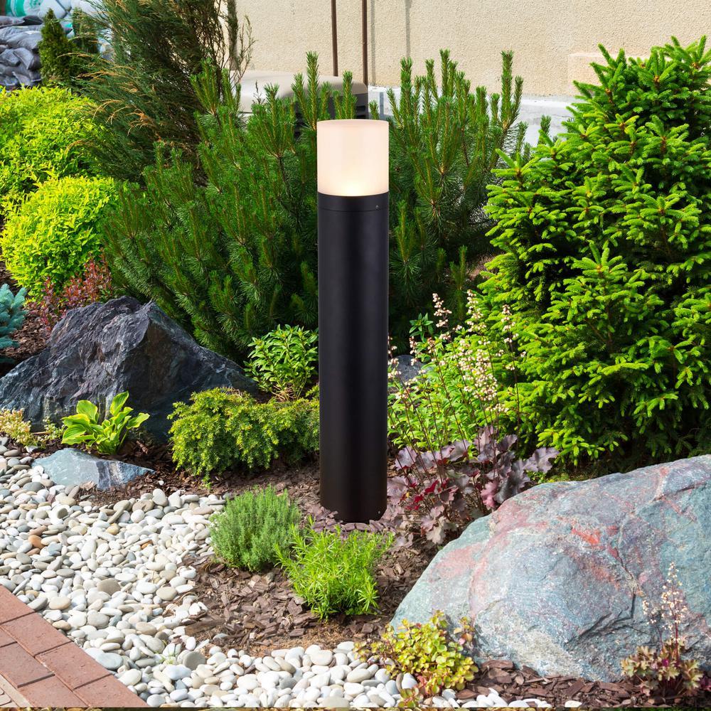 9-Watt Black Outdoor Integrated LED Bollard Landscape Path Light