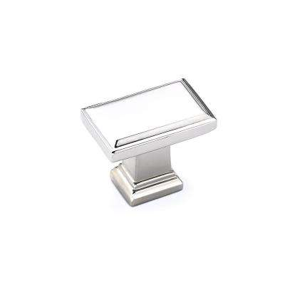 Transitional 1-1/2 in x 15/16 in (38 mm x 24 mm) Polished Nickel Rectangular Cabinet Knob