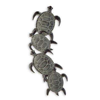 12.5 in. x 33.5 in. Metal Sea Turtle Wall Art