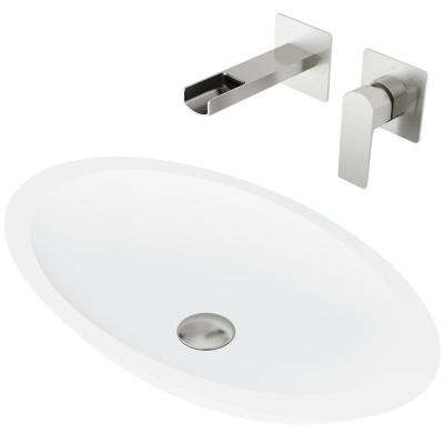 Wisteria Matte Stone Vessel Bathroom Sink Set with Atticus Wall Mount Faucet in Brushed Nickel