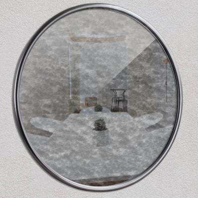 Round Silver Antiqued Framed Wall Mirror