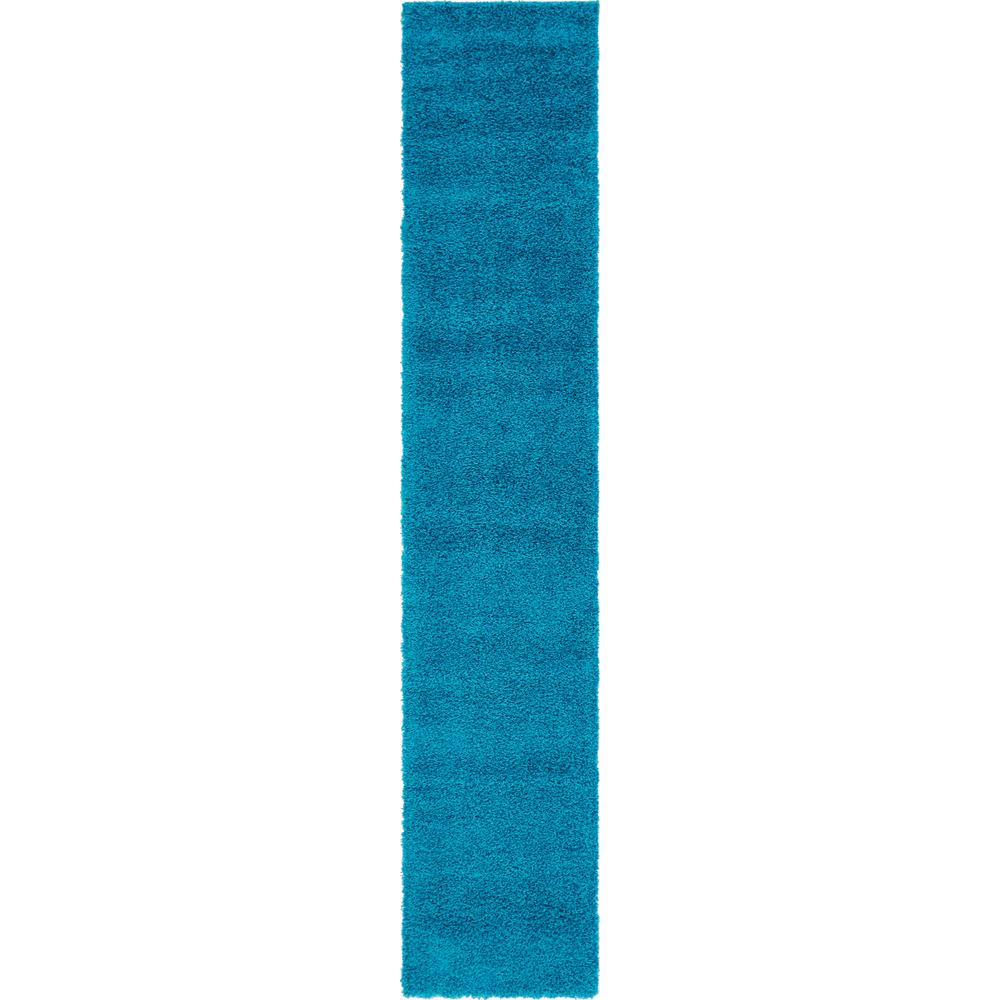 Unique Loom Solid Shag Turquoise 2 Ft. 6 In. X 13 Ft