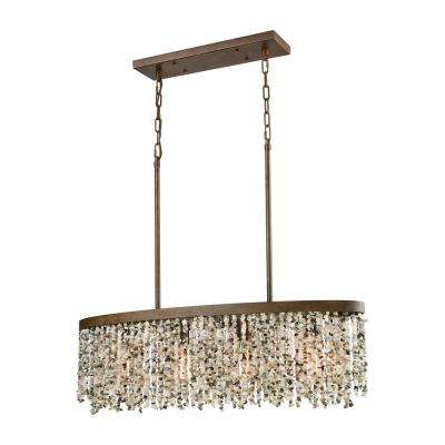 Agate Stones 4-Light Long Weathered Bronze Chandelier with Gray Agate Stones Shade
