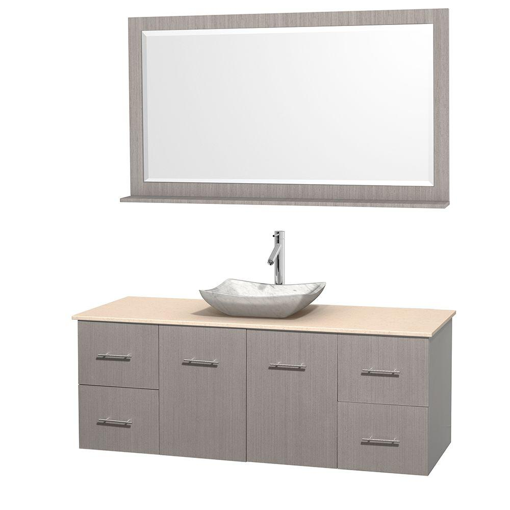 Wyndham Collection Centra 60 in. Vanity in Gray Oak with Marble Vanity Top in Ivory, Carrara White Marble Sink and 58 in. Mirror