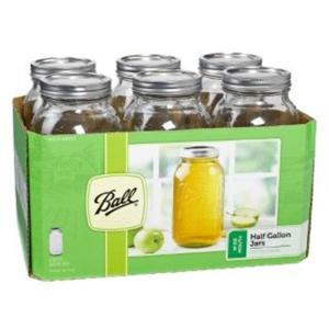 e40f36209c6 Ball 64 oz. Wide Mouth Half Gallon Jars (Pack of 6)-68100 - The Home ...