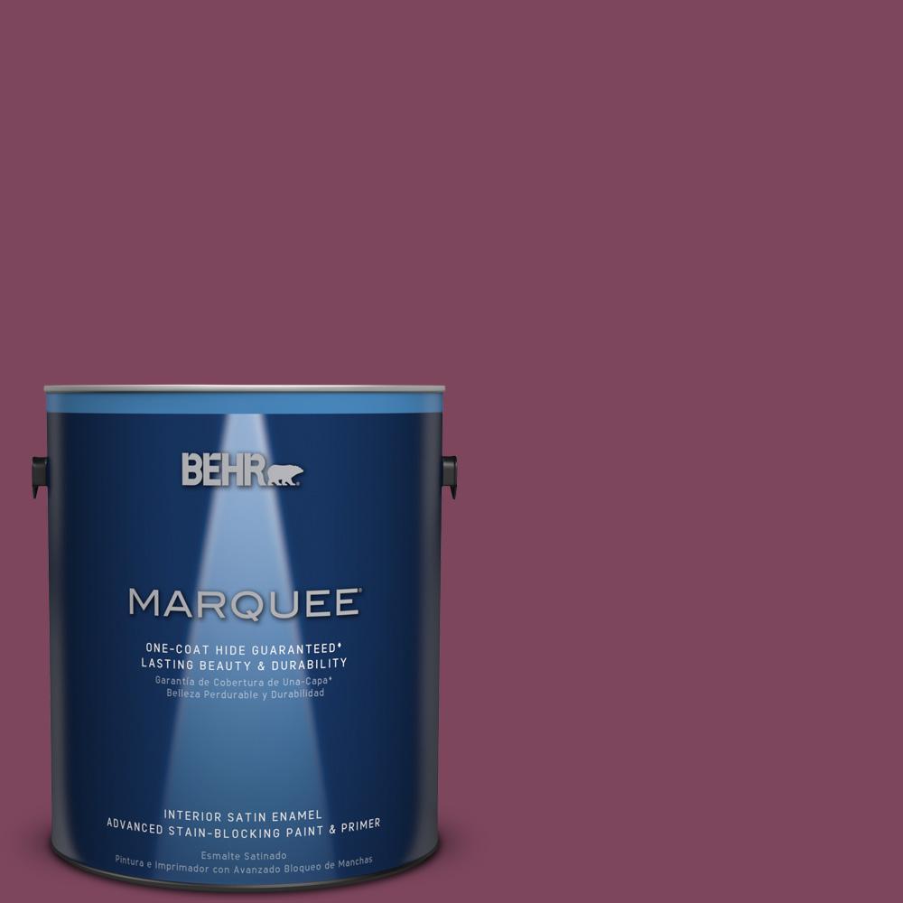 1 gal. #T17-14 Artful Magenta Satin Enamel Interior Paint