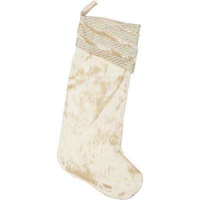 20 in. Viscose Creme Memories Glam Christmas Decor Stocking