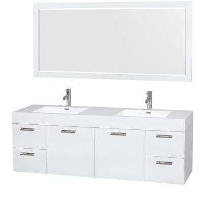 Amare 72 in. Double Vanity in Glossy White with Acrylic-Resin Vanity Top in White, Integrated Sinks and 70 in. Mirror