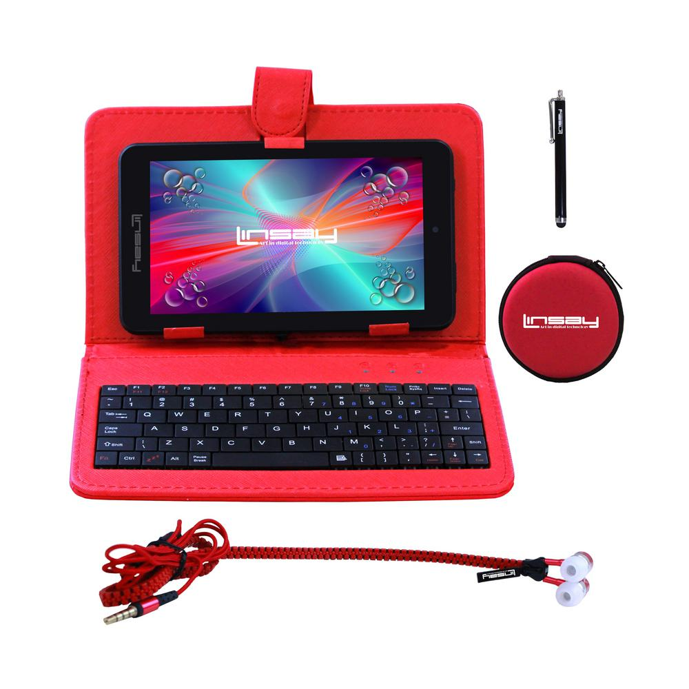 LINSAY 7 in. 2GB RAM 16GB Android 9.0 Pie Quad Core Tablet with Red Keyboard Earphones and Stylus Pen was $149.99 now $59.99 (60.0% off)