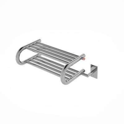Essentia Shelf 8-Bar Hardwired and Plug-in Towel Warmer in Polished Stainless Steel