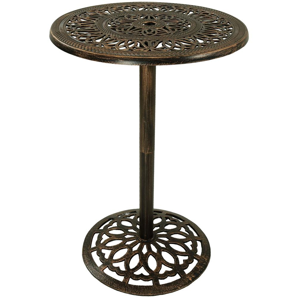 wholesale dealer a76b0 19289 Sunnydaze Decor 40 in. Cast Iron Bar-Height Patio Outdoor Round High Top  Pub Table