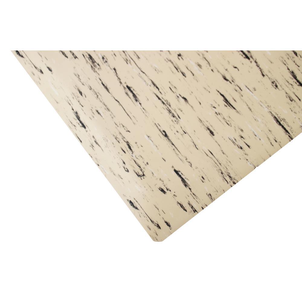 Marbleized Tile Top Anti-fatigue Mat Tan DS 2 ft. x 11 ft. x 7/8in. Commercial Mat