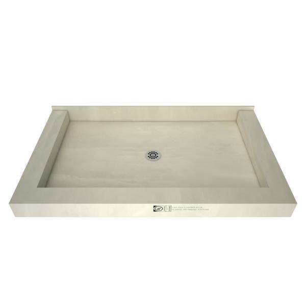 Redi Base 36 in. x 48 in. Triple Threshold Shower Base with Center Drain and Polished Chrome Drain Plate