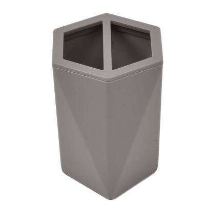 Bath Toothbrush and Toothpaste Holder Hexagonal Solid in Taupe