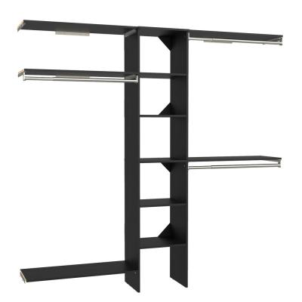 Style+ 64.9 in W - 112.9 in W Noir Basic Narrow Wood Closet System Kit