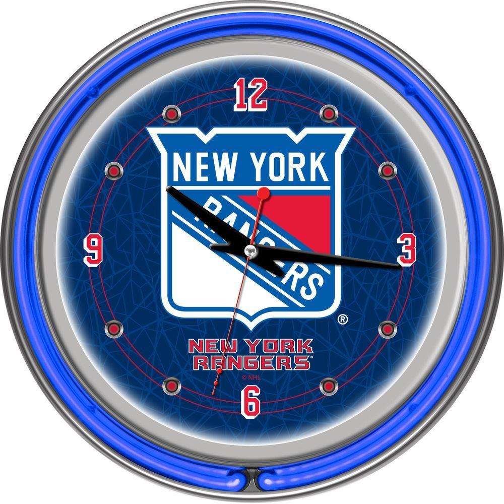 Trademark 14 in. New York Rangers NHL Neon Wall Clock