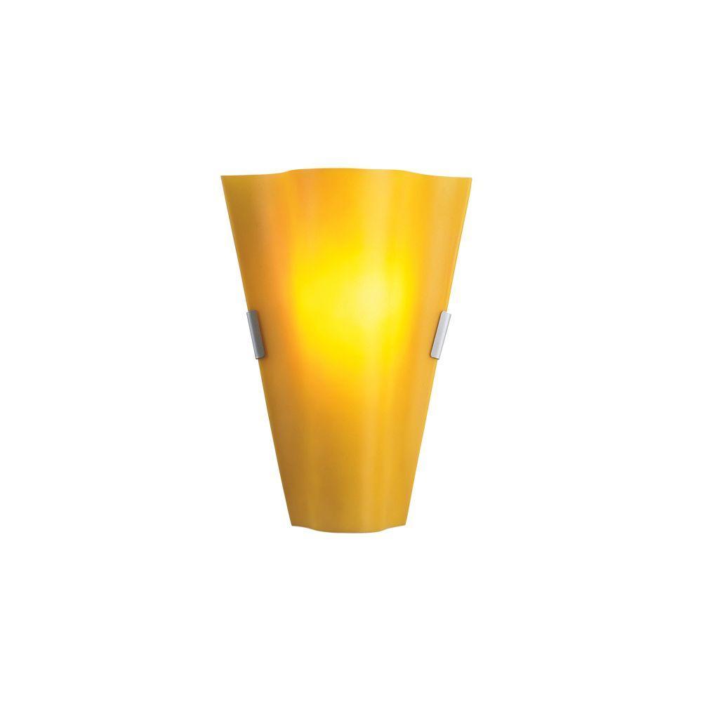 Eurofase Vivi Collection 1 Light Satin Nickel & Amber Wall Sconce-DISCONTINUED