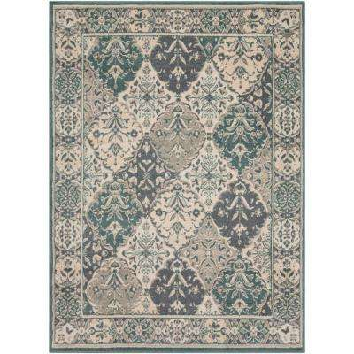 Eveline Teal 5 ft. 3 in. x 7 ft. 3 in. Oriental Area Rug