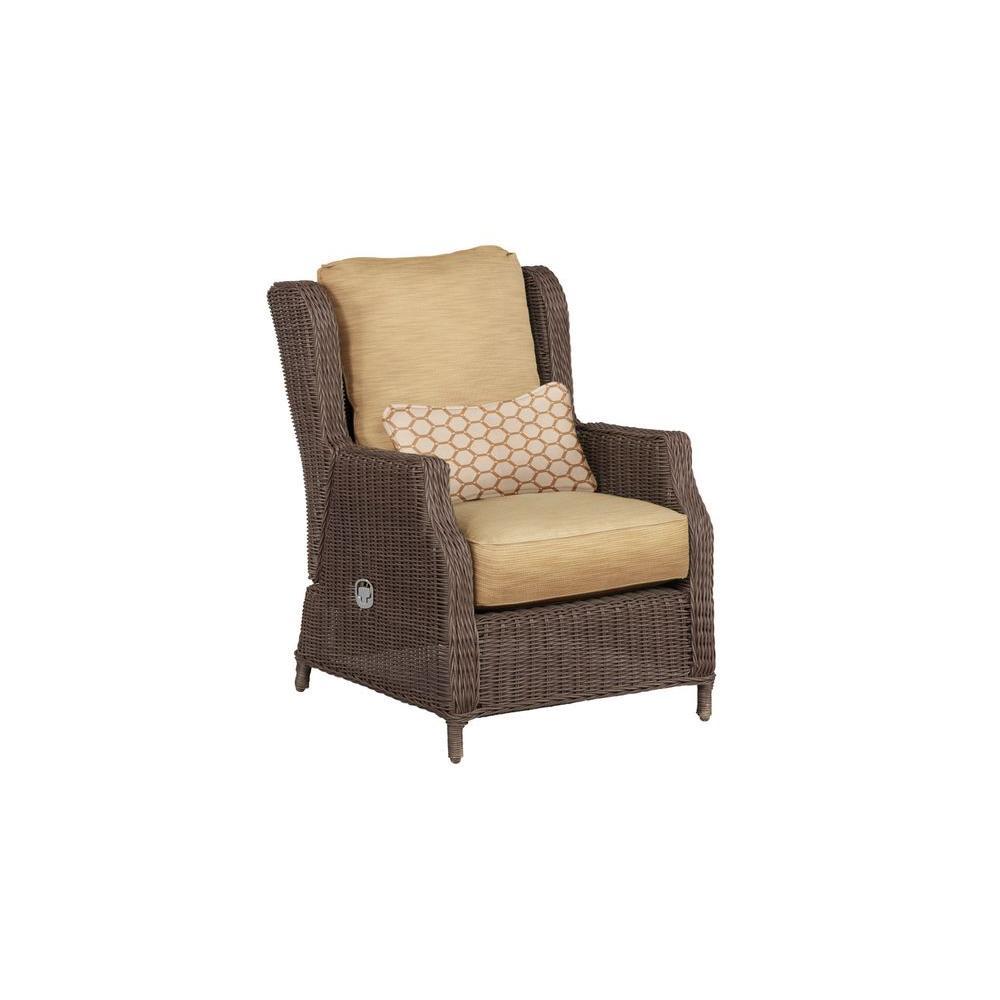 Brown Jordan Vineyard Patio Motion Lounge Chair In Toffee With Tessa Barley Lumbar Pillow