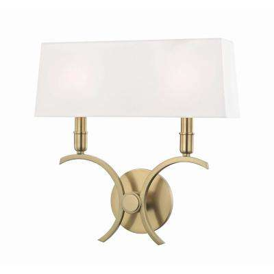 Gwen 2-Light 14.5 in. W Aged Brass Wall Sconce with White Linen Shade  sc 1 st  Home Depot & Brass - Sconces - Lighting - The Home Depot