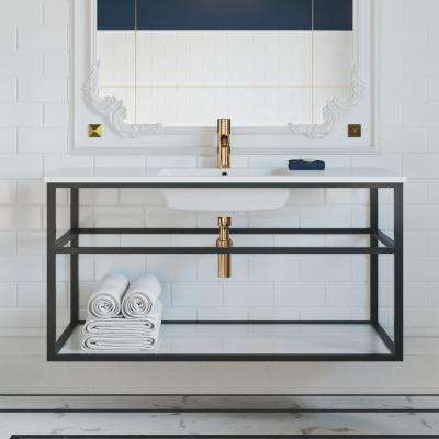Bath Vanity in Matte Black with Stainless Steel Metal Frame Vanity Top in Glossy White with Glossy White Basin