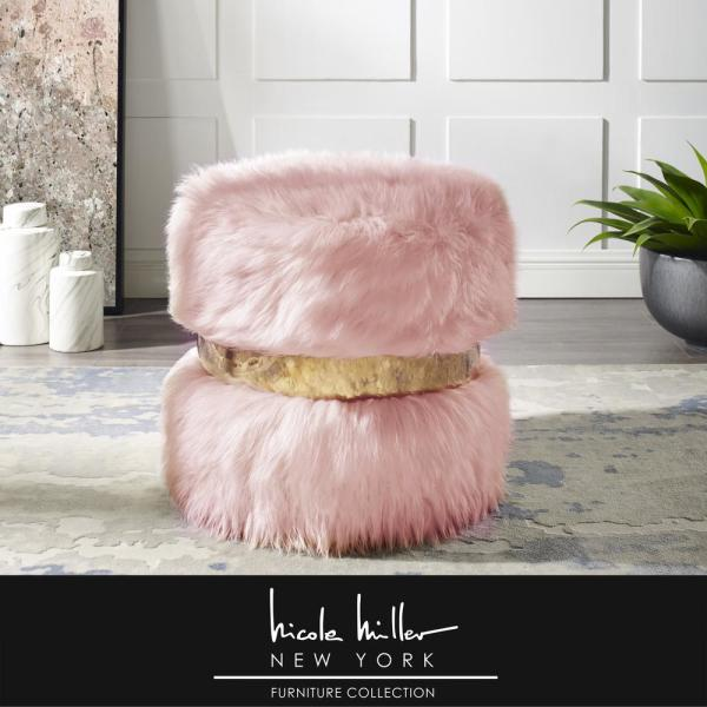 Hassan Blush/Gold Faux Fur Round Ottoman
