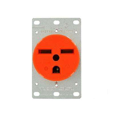 30 Amp 250-Volt Flush Mounting Isolated Ground Outlet, Orange