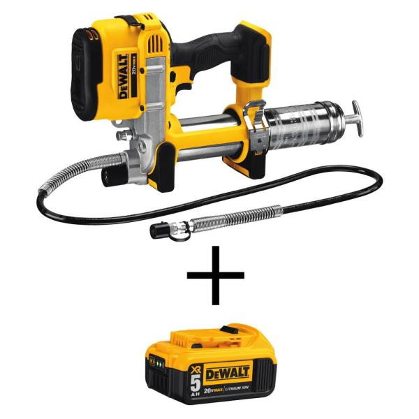 20-Volt MAX Lithium-Ion Cordless Grease Gun (Tool-Only) with Bonus 20-Volt MAX XR Lithium-Ion Premium Battery Pack 5.0Ah