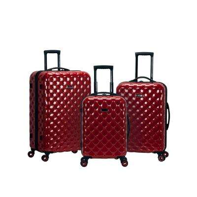3-Piece Red Polycarbonate Luggage Set